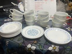 Lot Of 12 Pyrex Morning Blue Tea Mugs And Saucers And 5 Salad Plates Corning Corelle