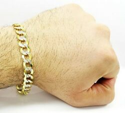 Fine Jewelry 18 Kt Real Solid Yellow Gold 2 Tone Menand039s Bracelet 40.110 Grams