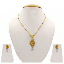22 Kt Solid Yellow Gold Womenand039s Necklace Jewelry Set Earrings And Chain Pendant