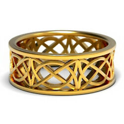 18 Kt Hallmark Real Solid Yellow Gold Celtic Band Ring With Open Cut Knotwork