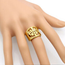 18 K Hallmark Real Solid Yellow Gold Hollow Wish Tree Women's Ring Size 6,7,8,9