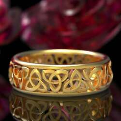 18 Kt Hallmark Real Solid Yellow Gold Celtic Band Ring Trinity Knot Size 6 7 8 9
