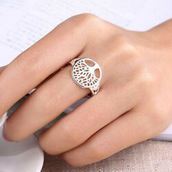 14 Kt Hallmark Real Solid White Gold Tree Of Life Engagement Ring Size 5,6,7,8,9