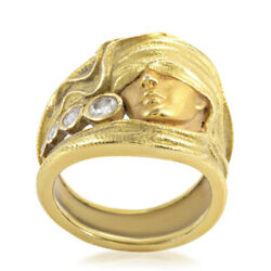 Fine Jewelry 18 Kt Real Solid Yellow Gold Cz Womenand039s Face Band Ring Size 6789