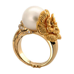 Fine Jewelry 18 Kt Hallmark Real Solid Yellow Gold Pearl Womenand039s Ring Size 678