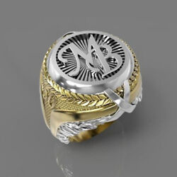 Fine Jewelry 18 Kt Real Solid White And Yellow Gold 2 Tone Mb Menand039s Ring Size 910