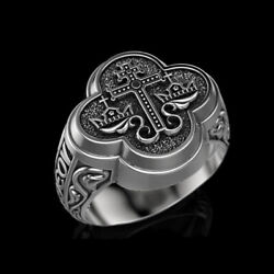 Fine Jewelry 14 Kt Solid White Gold Jesus Cross Antique Men's Ring Size 9,10,11