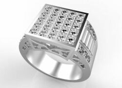 Fine Jewelry 14 Kt Real Solid White Gold Cubic Zirconia Men's Ring Size 9,10,11