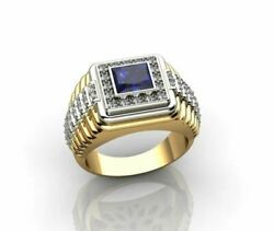 Fine Jewelry 18 Kt Solid Yellow Gold Blue Sapphire And Cz Menand039s Ring Size 91011