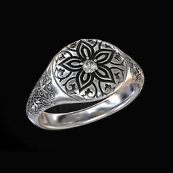 Fine Jewelry 14 Kt Solid White Gold Flower Cz Antique Men's Ring Size 9,10,11,12