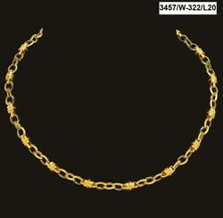 22 Kt Real Solid Yellow Gold Hallmark Luxury Necklace Men's Link Chain 21 Grams