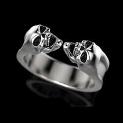 14 Kt Solid White Gold Fine Jewelry 2 Skeletons Antique Ring Size 789101112