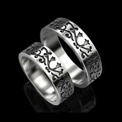 14 Kt Solid White Gold His And Her Matching Couple Promise Wedding 2 Pcs Band Set