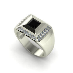 Fine Jewelry 14 Kt Solid White Gold Natural Onyx And Cz Menand039s Ring Size 891011