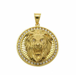 Fine Jewelry 18 Kt Real Solid Yellow Gold Lion Face Necklace Menand039s Pendant 16 Gm
