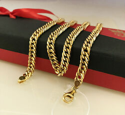 18 Kt Hallmark Real Solid Yellow Gold Curb Cuban Necklace Men's Chain 22g 20 L