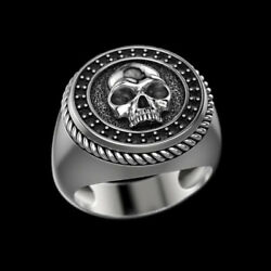 Fine Jewelry 14 Kt Solid White Gold Skeleton Onyx Antique Ring Size 8,9,10,11,12