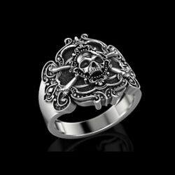 14 Kt Solid White Gold Fine Jewelry Skeleton Antique Ring Size 7,8,9,10,11,12,13