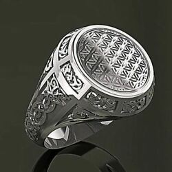 14 Kt Solid White Gold Fine Jewelry Vintage Antique Men's Ring Size 8,9,10,11,12