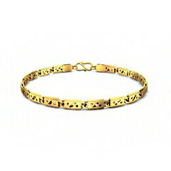 Fine Jewelry 18 Kt Hallmark Real Solid Yellow Gold Link Menand039s Bracelet 15 Grams