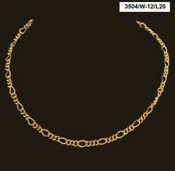 22 Kt Real Solid Yellow Gold Hallmark Necklace Curb Figaro Link Chain 20 Grams