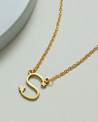 Fine Jewelry 18 Kt Solid Yellow Gold Alphabet Letter S Initial Necklace Pendant