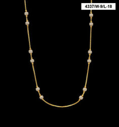 22 Kt Real Solid Yellow Gold Curb Iced Out White Gold Balls Necklace Chain 20 Gm