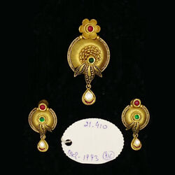 22kt Solid Yellow Gold Antique Necklace Earrings Women Pendant Set 21.410 Grams