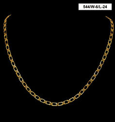 22 Kt Hallmark Real Solid Yellow Gold Necklace Iced Out Dubai Long Chain 20 Gram