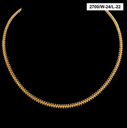 22 Kt Hallmark Real Solid Yellow Gold Necklace 2 Tone Cuban New Chain 18 Gram