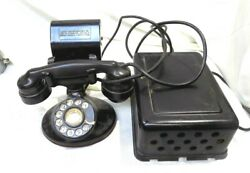 Western Electric B1 Rotary Dial Telephone, W/index Holder And Box-e1 Handset 1950s