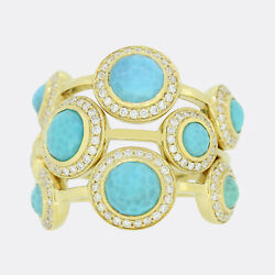 Gold Diamond Ring- Turquoise And Diamond Cluster Ring 18ct Yellow Gold