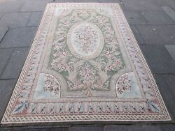 Vintage Hand Made French Design Wool Green Original Aubusson 282x174cm