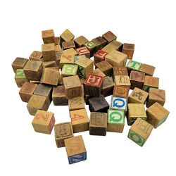 Vintage Lot Of 68 Assorted Alphabet Blocks Children's Toy - Great For Early Ed.