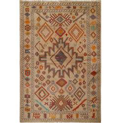 10888 Fine Hand Knotted Afghan Carpet 6and0398 X 9and0399 Traditional Wool Large Rug