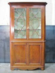 19th Century American Federal Mahogany Corner Cabinet Chippendale Style Doors