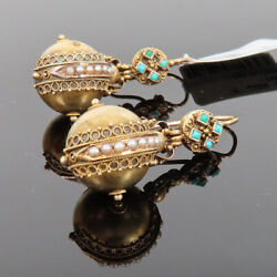 Antique Turquoise And Natural Pearl Handmade 18k Yellow Gold Decorated Earrings