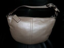 COACH Hobo Purse Handbag Metallic Pearl Tan EUC $27.50
