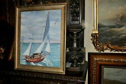 Antique Seascape By Maine Costal Artist Harry Maloney1917 - 1998 In Boston