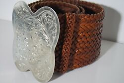 Genuine Brown Woven Leather Wide Belt Silver Plate Buckle Cow Girl