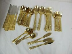 Vintage Cellini Romanesque Gold Plated Stainless Steel Flatware Rose 48 Pcs
