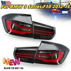 Left+right Led Rear Lamps Tail Lights Black Housing For Bmw 3 Series F30 2012-15