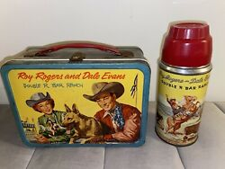 Vintage Roy Rogers And Dale Evans Vintage Metal Lunch Box W/thermos