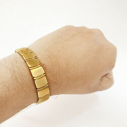 Fine Jewelry 18 Kt Real Solid Yellow Gold Menand039s Bracelet 34.200 Gram Wide 13 Mm