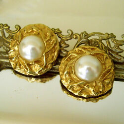 22 K Hallmark Real Solid Yellow Gold Donald Stannard Pearl Clip On Stud Earrings