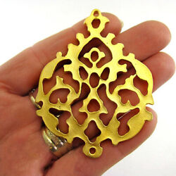 22 Kt Real Solid Yellow Gold Turkish Fretwork Connector Tribal Necklace Pendant