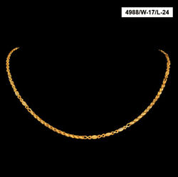 22 Kt Hallmark Real Solid Yellow Gold Curb Fancy New Necklace Chain 20 Grams