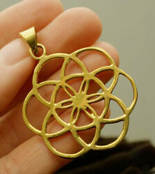 22 Kt Real Solid Yellow Gold Seed Of Life Mandala Symbolic Necklace Pendant
