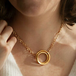 Fine Jewelry 18 K Hallmark Real Solid Yellow Gold Eclipse Chain Necklace Pendant