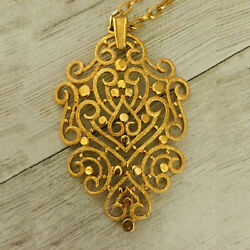 18 Kt Real Solid Yellow Gold Vintage Trifari 1970's Chain Necklace Pendant